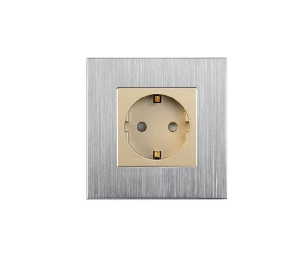 LUX Aluminium Steckdose 1 Fach in Weiß/Gold LXBA1-11-71-13