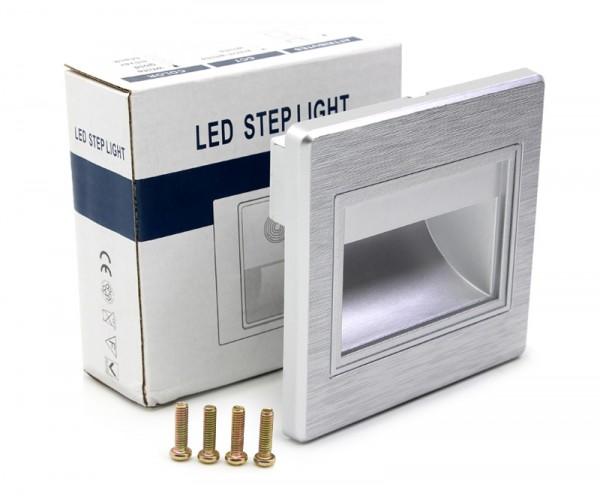 LED Treppenbeleuchtung 1W für INNEN Einbauleuchte Leuchte SILBER