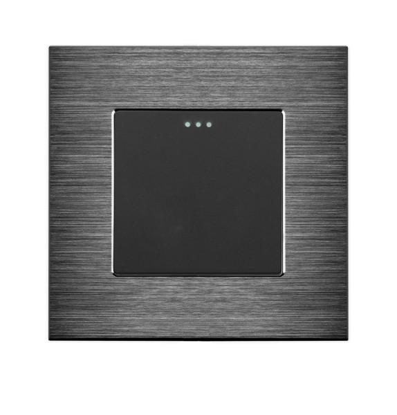 LUX Wipp Kreuzschalter 1 Fach + Alu Rahmen Schwarz/Schwarz LXBA1-12-LX-103-12