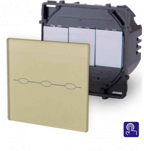 LUX Touchscreen Lichtschalter Modul 3 Fach Gold LX-703-13