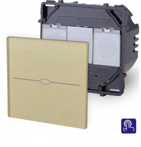 LUX Touchscreen Tasterschalter Modul 1 Fach Gold LX-701B-13