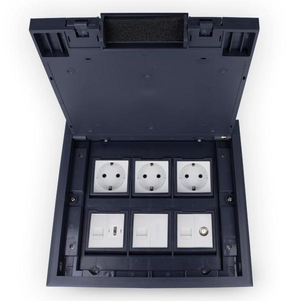 Kunststoff Einbausteckdose 6 Fach VDE Steckdose, Netzwerk, Cover, HDMI und Sat Dose Fußboden Bodentanks versenkba