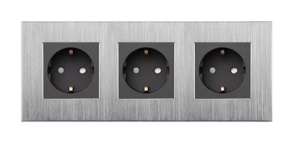 LUX Aluminium Steckdose 3 Fach in Weiß/Schwarz LXBA3-11-71-12
