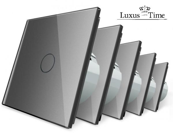 LIVOLO 5 x Glas Touch Lichtschalter Wandschalter Schalter Ein/Aus VL-C701-15 Grau