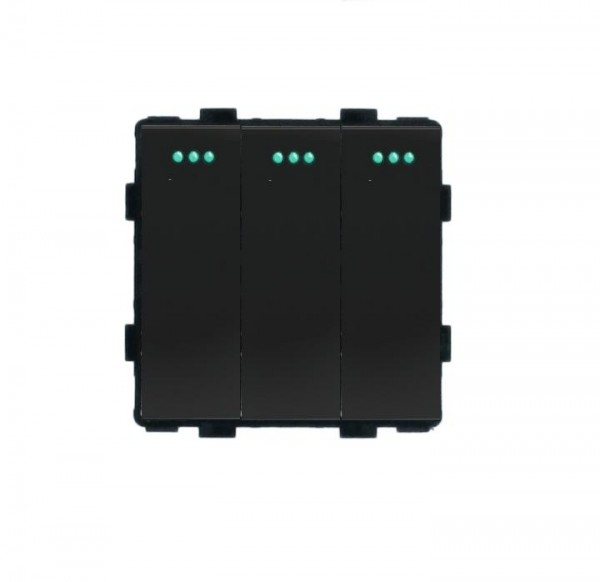LUX Wipp Lichtschalter Modul 3 Fach in Schwarz LX-103M-12