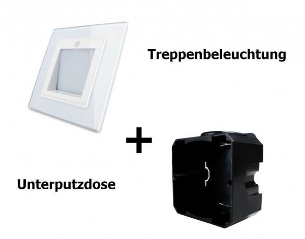 Livolo LED Spot Treppenbeleuchtung Weiß + Unterputzdose (W291JD-11-A+EU-80-WSMB)