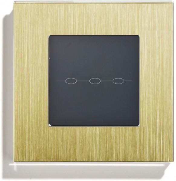 LUX Lichtschalter 3 Fach Aluminium Rahmen + Modul Gold/Schwarz LXBA1-13-LX-703-12