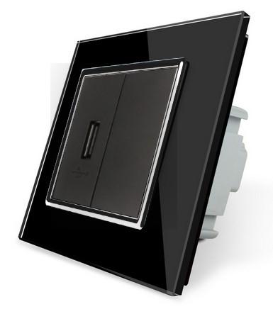 LIVOLO USB Steckdose zum laden von USB Geräten mit Glasrahmen VL-C7-1USB-12