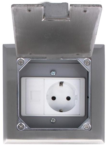 Einbausteckdose 1 Fach inkls. VDE Steckdose und Netzwerk 1/2 Modul Fußboden Bodensteckdose versenkbar Bodentank HTD-120KP