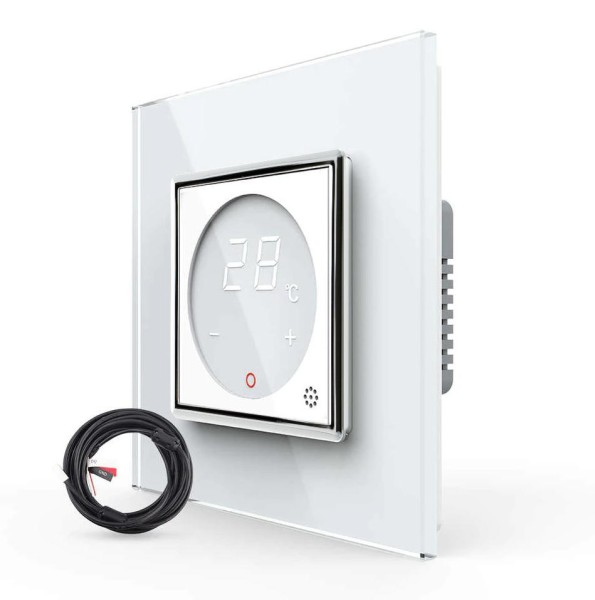 Digitales Raumthermostat mit externem Temperaturfühler Fußboden / Elektroheizung inkl. Glasrahmen