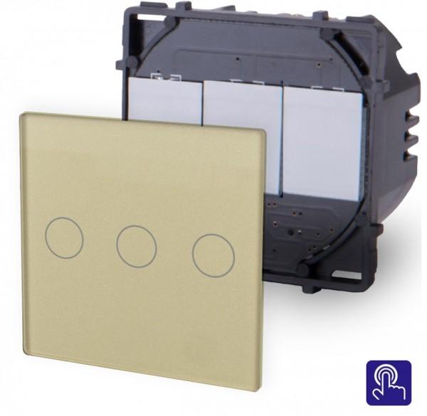 POINT Touchsreen Lichtschalter 3 Fach Modul in Gold P-703-13