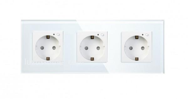 LUX FUNK Smart Steckdose 3 Fach Schuko inkl. Glasrahmen in Weiß