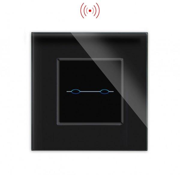 LUX Serien Funk Lichtschalter 2 Fach Glas Rahmen + Modul schwarz/schwarz LXBG1-12-LX-702R-12