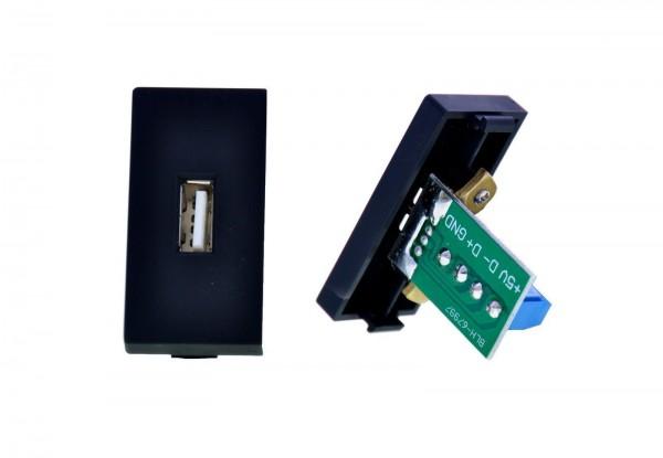 USB Datendose 1/2 Schwarz LUX4999 Schwarz
