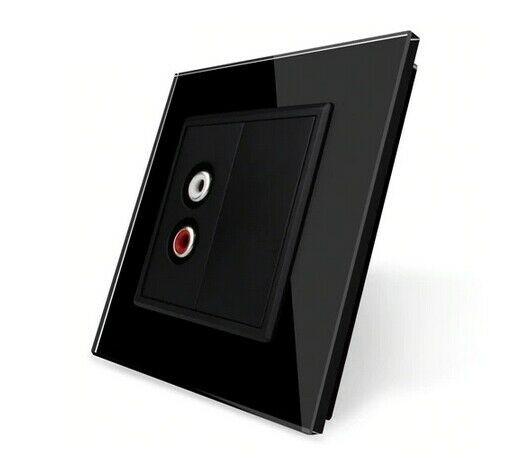 LIVOLO Audiodose Audiobuchse mit Glasblende VL-C7-1AD-12 + VL-C7-SR-12-A Schwarz