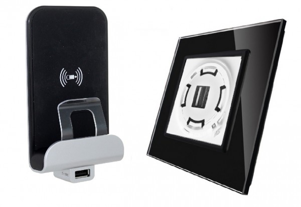 Wireless inductions Charger USB Ladegerät inkls. LIVOLO Glasblende in Schwarz LXX03-Charger-12-A