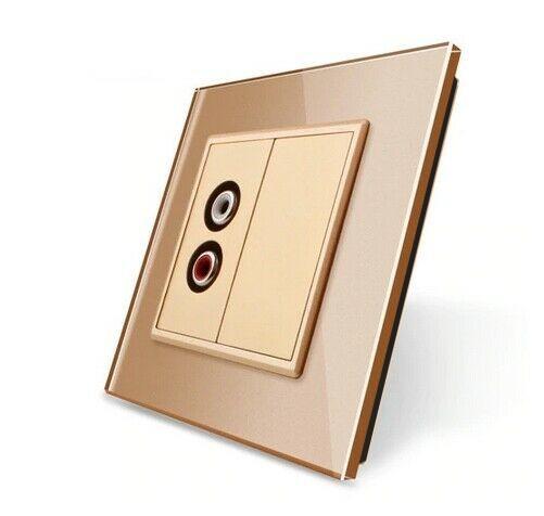 LIVOLO Audiodose Audiobuchse mit Glasblende VL-C7-1AD-13 + VL-C7-SR-13 Gold
