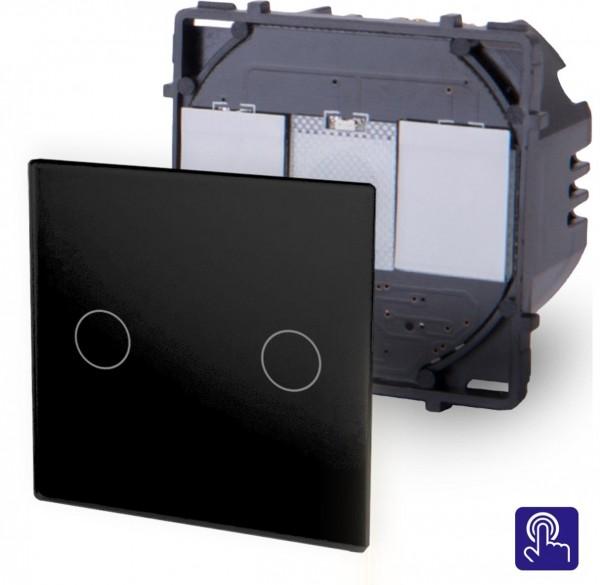 POINT Touchsreen Serien Lichtschalter 2 Fach Modul in Schwarz P-702-12