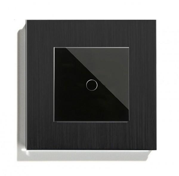 POINT Touchscreen Funkschalter inkls. Au Rahmen (Nebenstelle/Slave) 1 Fach schwarz P-MT101-12