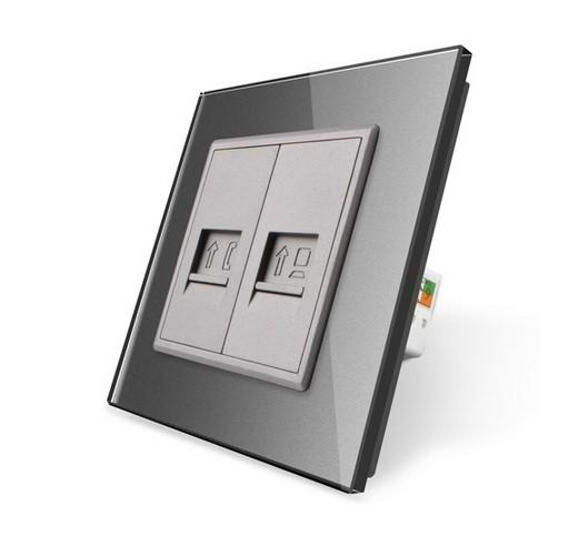 LIVOLO Telefon- und Computerdose VL-C7-1TC-15 + VL-C7-SR-15 Grau