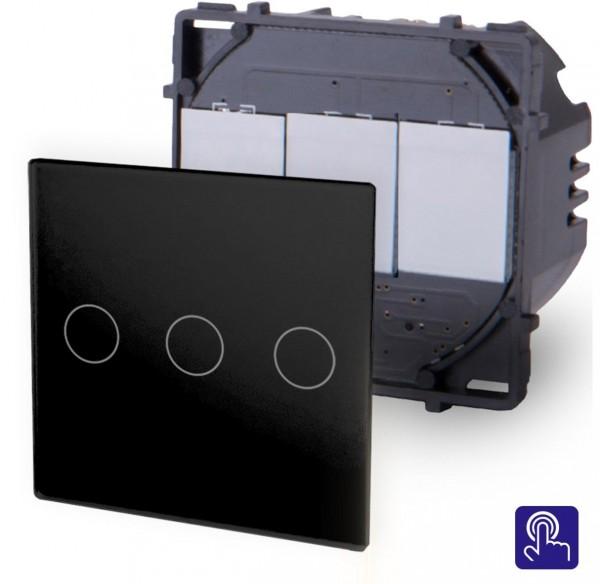 POINT Touchsreen Lichtschalter 3 Fach Modul in Schwarz P-703-12
