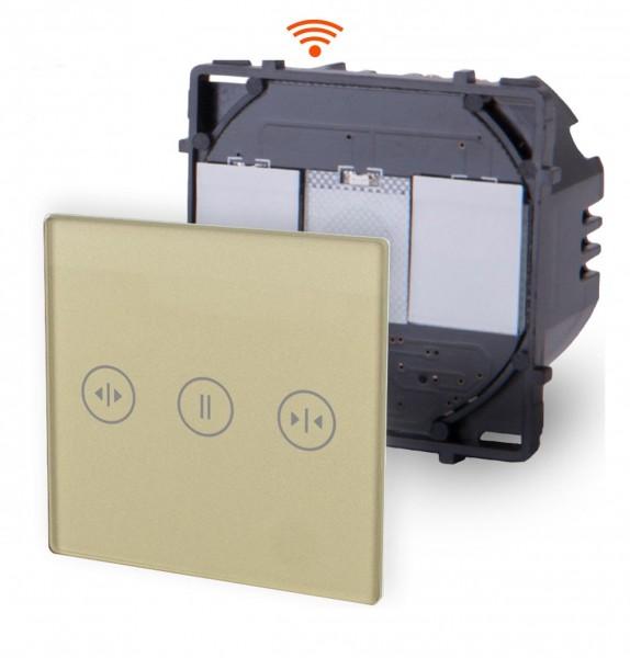 POINT Innenleben WLAN Rolladenschalter 2 Fach Smart WiFi Glas Touch Gold PWMR-13