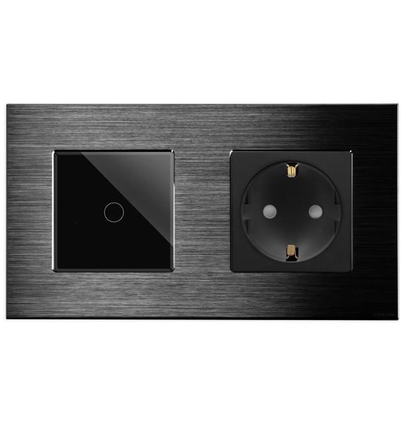 POINT Taster/ Steckdose Aluminium Alu Touch 2 Fach schwarz/schwarz LXBA2-12-71-P-701B-12