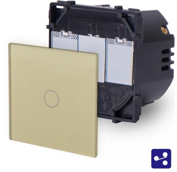 POINT Touchsreen Wechsel/Kreuzschalter 1 Fach Modul in Gold P-701S-13