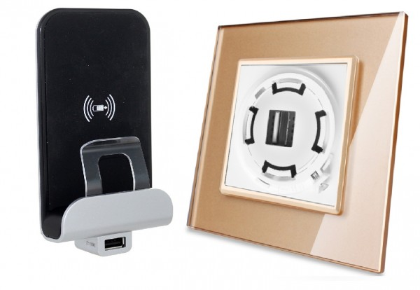 Wireless inductions Charger USB Ladegerät inkls. LIVOLO Glasblende in Gold LXX03-Charger-13