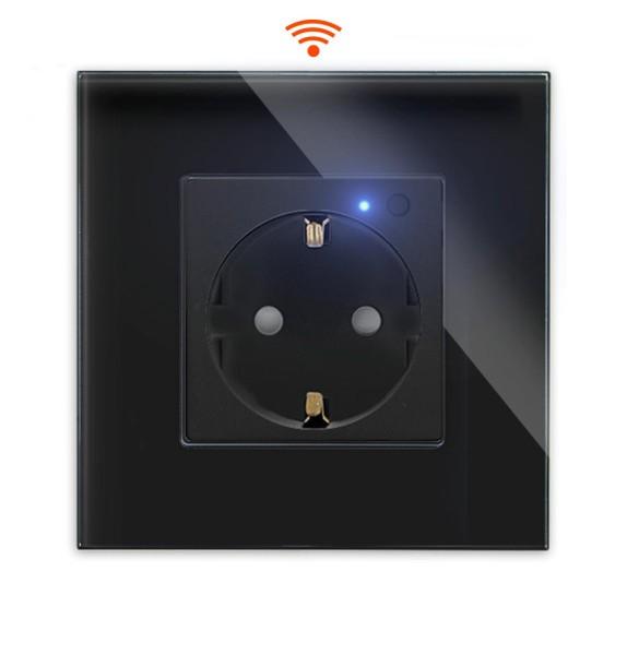 LUX WiFi Smart Steckdose WLAN Wandsteckdose Schuko Alexa UP Schwarz Glasrahmen