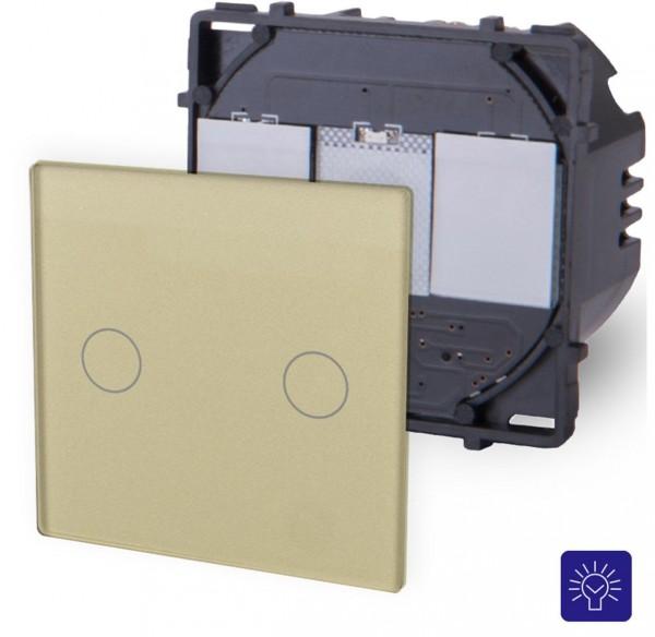 POINT Touchsreen Dimmer 2 Fach Modul in Gold P-702D-13
