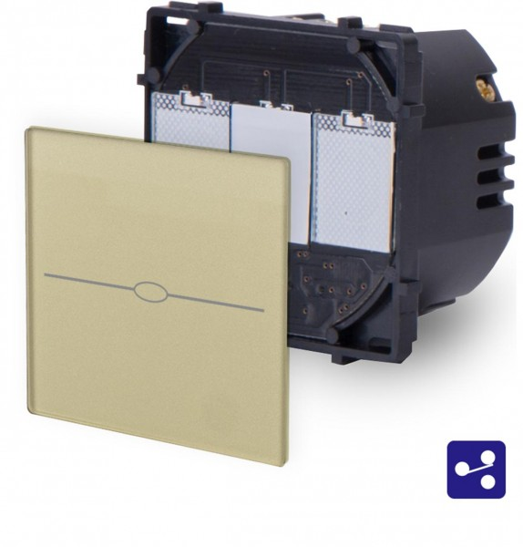 LUX Touchscreen Wechselschalter Modul 1 Fach Gold LX-701S-13
