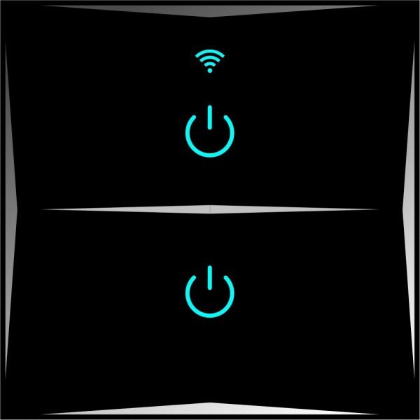 Smart Lichtschalter 2 Fach Schwarz WLAN APP Touch Google Home Amazon Alexa 1x HL02-12