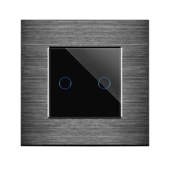 POINT Serienschalter Lichtschalter 2 Fach Alu Blende schwarz/schwarz LXBA1-12-P-702-12