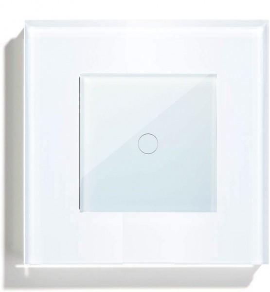 POINT Touchscreen Funkschalter inkls. Glas Rahmen (Nebenstelle/Slave) 1 Fach weiß P-MT101-11