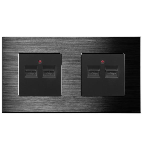 LUX Alu 2 Fach USB- Dose + USB- Dose in Schwarz/Schwarz LXBA2-12-2USB-2USB-12