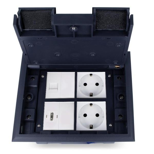 Kunststoff Einbausteckdose 4 Fach inkls. Steckdose, HDMI und Netzwerkdose Fußboden Bodentanks versenkbar HTD-622AS