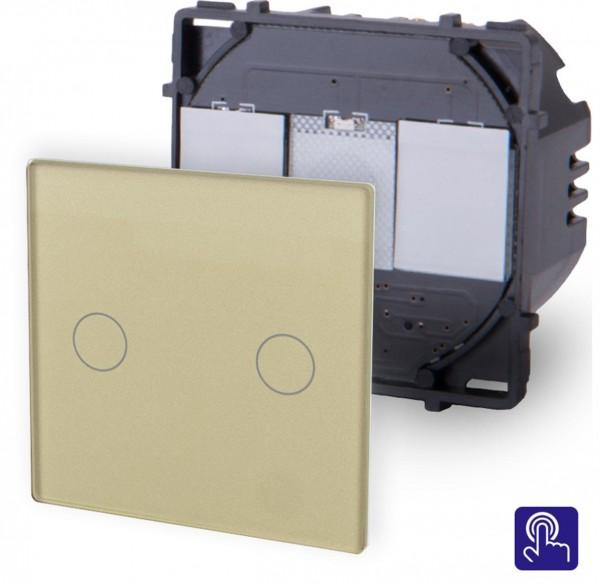 POINT Touchsreen Serien Lichtschalter 2 Fach Modul in Gold P-702-13