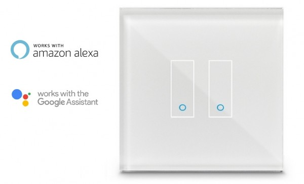 iotty Smart Schalter 2 Fach WiFi SmartHome Switch Lichtschalter Touch Glas Weiß E2-11