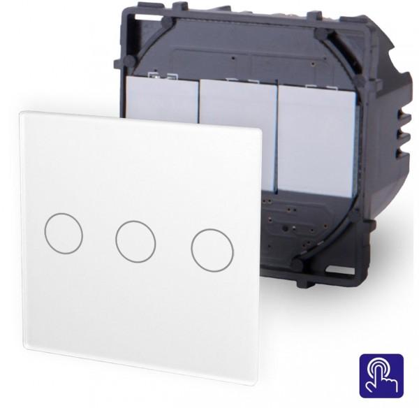 POINT Touchsreen Lichtschalter 3 Fach Modul in Weiß P-703-11