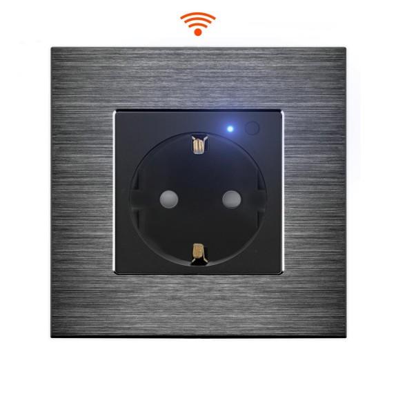 LUX WiFi Smart Steckdose WLAN Wandsteckdose Schuko Alexa UP Schwarz Alurahmen