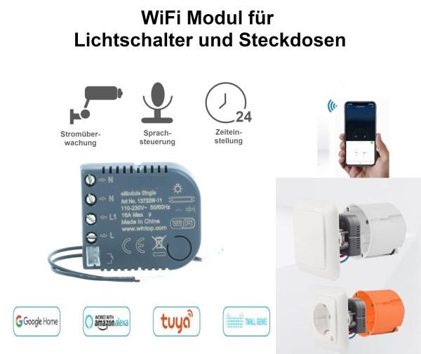 WiFi Modul für Lichtschalter Steckdose emodul-Single Smart Home Sprachsteuerung Alexa Google Home