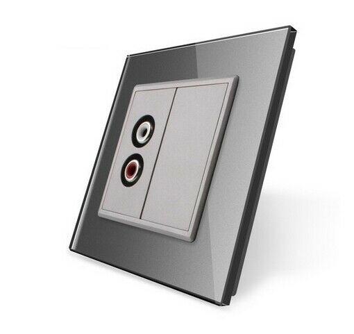 LIVOLO Audiodose Audiobuchse mit Glasblende VL-C7-1AD-15 + VL-C7-SR-15 Grau