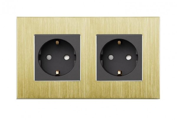 LUX Aluminium Steckdose 2 Fach in Gold/Schwarz LXBA2-13-71-12