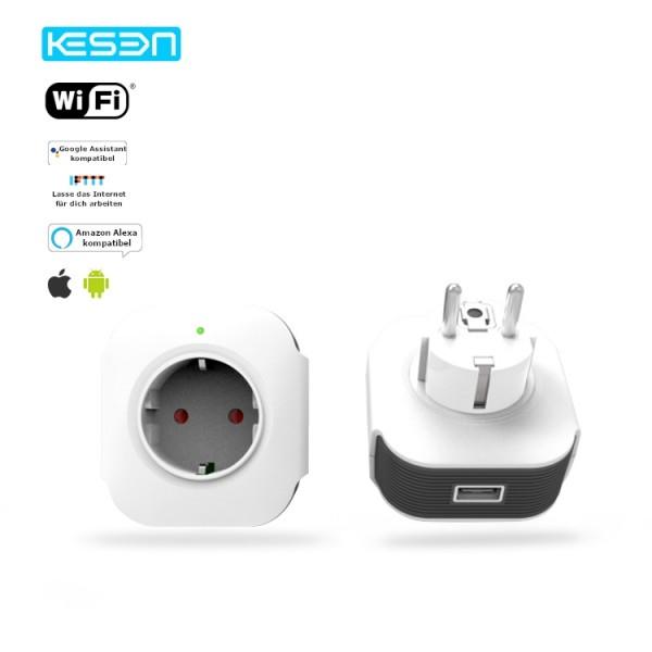 Smart Steckdose Weiß WLAN APP Schuko Google Home Amazon Alexa kompatibel 1x HS02-11
