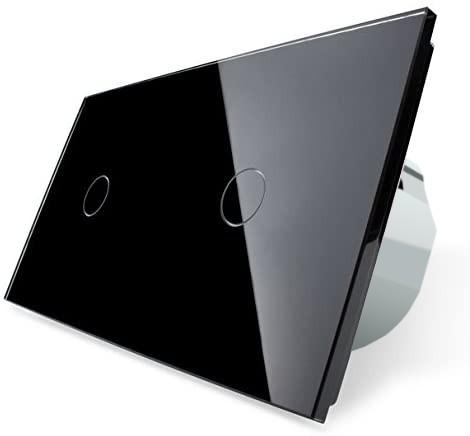 LIVOLO Funk Glas Touchscreen Lichtschalter 2 Fach Wandschalter Ein/Aus VL-C701R-12 Schwarz