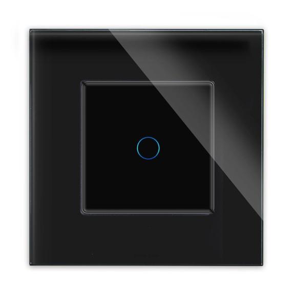 POINT Lichtschalter Glas 1 Fach Rahmen + Modul schwarz/schwarz LXBG1-12-P-701-12