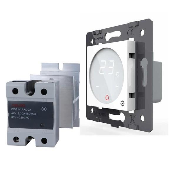 Livolo Innenleben Digitales Touch Raumthermostat mit Elektronisches Lastrelais / Temperaturfühler für Fußbodenheizung und Gasheizung mit Stellmotoren VL-C7-PS72-XQ002-11 Weiss