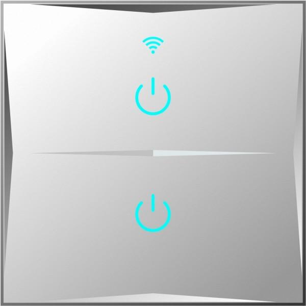 Smart Lichtschalter 2 Fach Weiß WLAN APP Touch Google Home Amazon Alexa 1x HL02-11