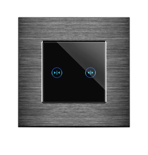 POINT Rolladenschalter Aluminium 2 Fach Rahmen + Modul schwarz/schwarz LXBA1-12-P-702W-12